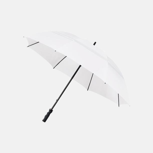 Vit Stormsäkra paraplyer med eget reklamtryck