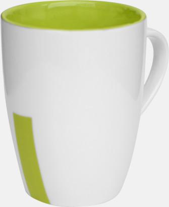 Limegrön (rand) Stengodsmuggar med randig eller prickiga detaljer - med reklamtryck