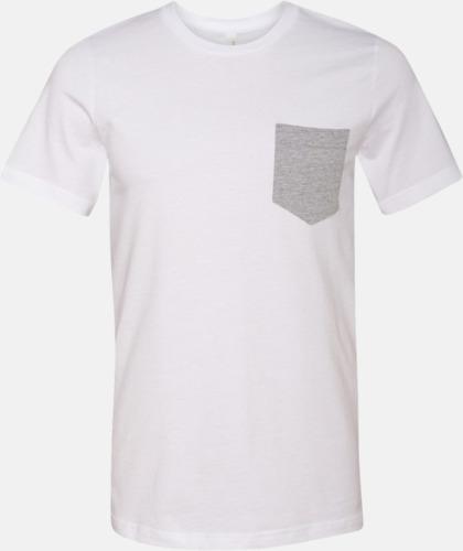 Herr t-shirts med bröstficka i kontrasterande färg - med reklamtryck