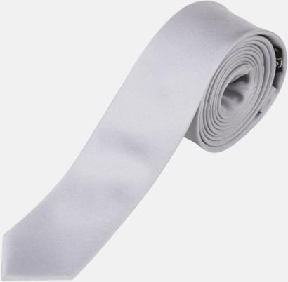 Silver Långa, smala slipsar med reklamtryck