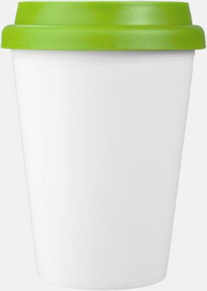 Limegrön / Vit Billiga take-away, dubbelväggiga plastmuggar med reklamtryck