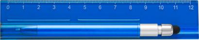 Blå Linjal med styluspenna i hållare - med reklamtryck