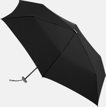 Svart Super slim kompaktparaplyer med tryck