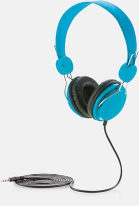 Blå Hörlurar i många färger med reklamtryck