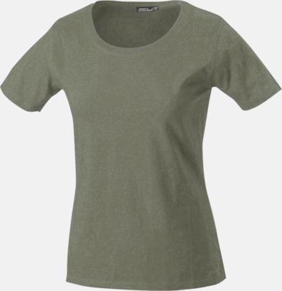 Olivgrön T-shirtar av kvalitetsbomull med eget tryck