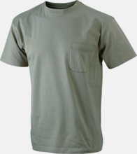 T-shirts med bröstficka i matchande färg - med reklamtryck