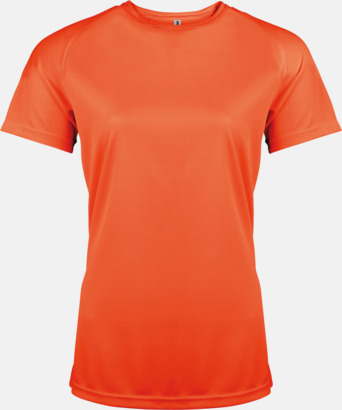 Floucerande Orange Sport t-shirts i många färger för damer - med reklamtryck
