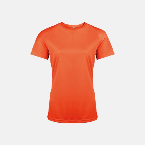 Fluorescerande Orange Sport t-shirts i många färger för damer - med reklamtryck