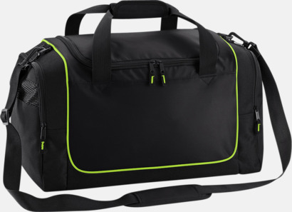 Svart/Limegrön Kompakta träningsväskor med reklamtryck