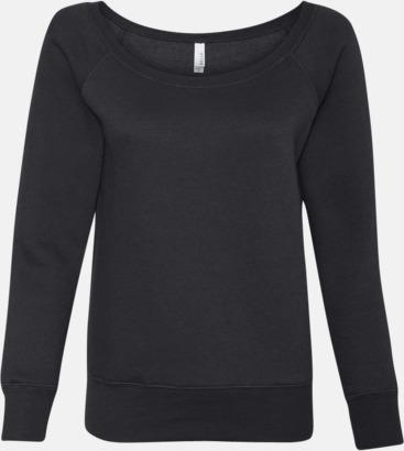 Solid Black Triblend Spräckliga damtröjor med vid halsöppning - med reklamtryck