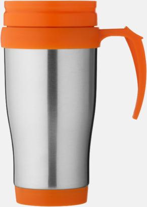 Orange / Silver Billiga termosmuggar med reklamtryck