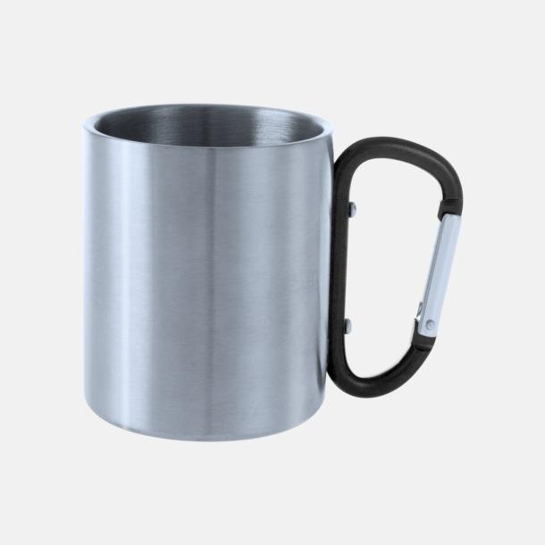 Silver / Svart Stålmuggar med färgat karbinhakeöra med reklamtryck