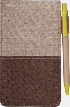 Brun/Ljusbrun Kommissarieblock och penna med reklamtryck