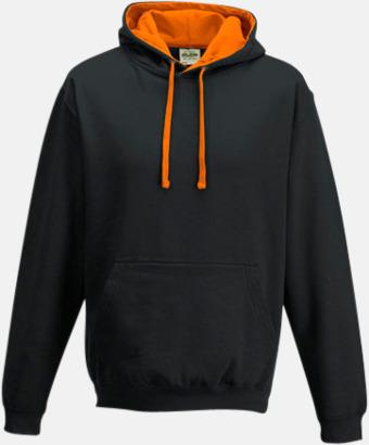 Jet Black/Orange Crush Huvtröjor med insida av luva och dragsko i kontrasterande färg - med reklamtryck