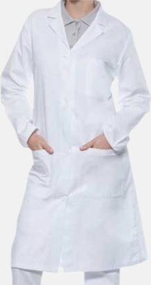 Vit (dam) Läkarrockar i herr- och dammodell med reklamtryck