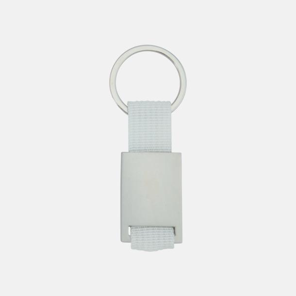 Vit / Silver Metallnyckelringar med färgade polyesterband med gravyr