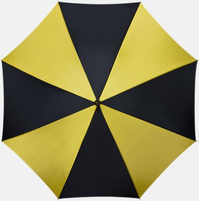 Gul / Svart Golfparaplyer med gummerade handtag