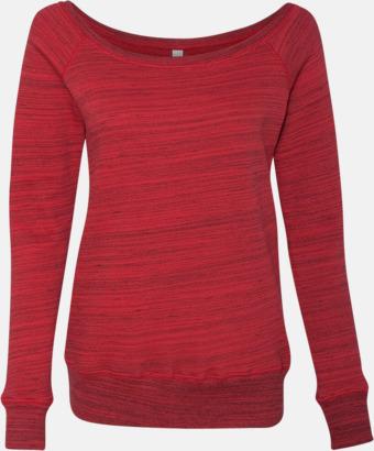 Marble Fleece Red (heather) Spräckliga damtröjor med vid halsöppning - med reklamtryck