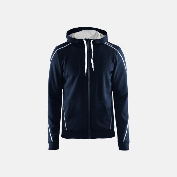 Dk navy/Vit/Grey Melange Tränings huvtröjor med dragkedja med reklamtryck