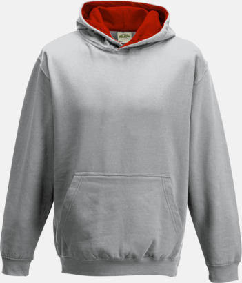 Heather Grey/Fire Red Varsity Hoodie Contrast i barnmodell med reklamtryck