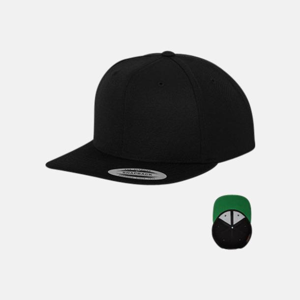 Svart / Grön Snapback kepsar med flexfit - med reklamtryck