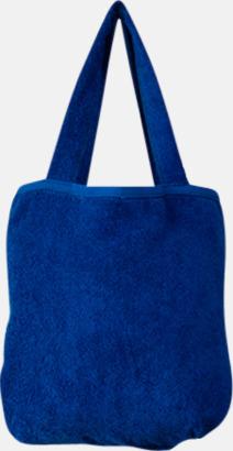 """Royal Blue Bomullsväskor av """"handduksfrotté"""" med bordyr"""