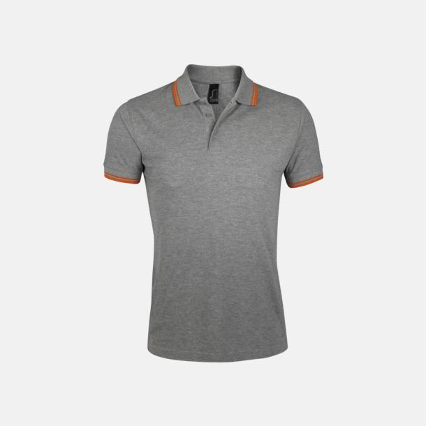 Grey Melange/Orange (herr) Herr- och dampikéer med kontrasterande ränder - med tryck eller brodyr