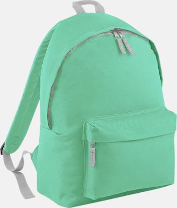 Mint Green/Ljusgrå Klassisk ryggsäck i 2 storlekar med eget tryck