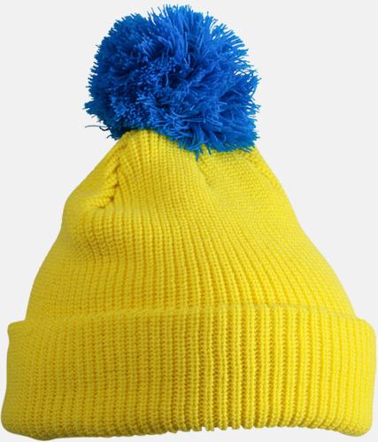 Gul/azurblå Toppluvor med uppvik - med brodyr