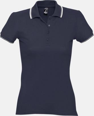 Marinblå/Vit (dam) Snygga pikétröjor för herr och dam