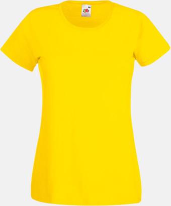 Gul Figursydd damt-shirt med reklamtryck
