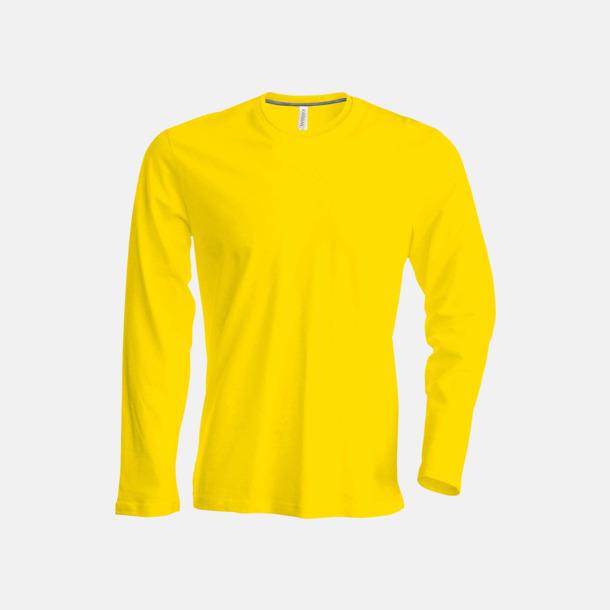 Gul (crewneck, herr) Långärmad t-tröja med rundhals för herr och dam med reklamtryck