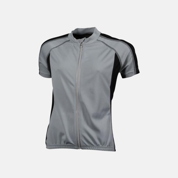 Silver/Svart (dam) Herr- och damcykeltröjor med hel dragkedja - med reklamtryck