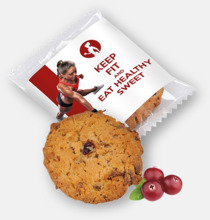 Havrekakor med tranbär och choklad - med reklamtryck