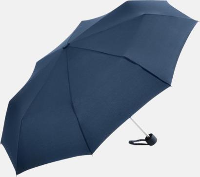 Marinblå Kompaktparaplyer i aluminium med tryck