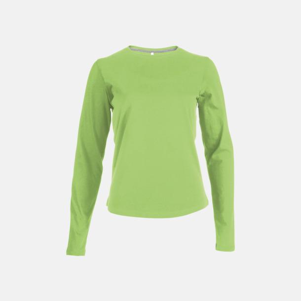 Lime (crewneck, dam) Långärmad t-tröja med rundhals för herr och dam med reklamtryck