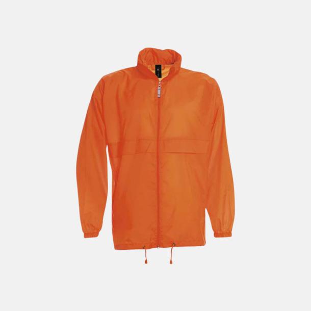 Orange (unisex) Vind- och vattentäta jackor för dam, herr och barn - med tryck