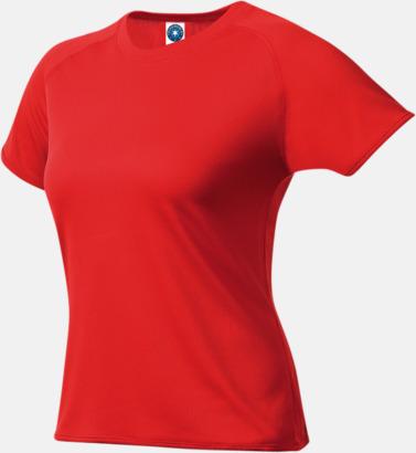 Röd (dam) Funktions t-shirts i herr- & dammodell med reklamtryck