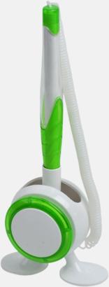 Vit / Limegrön Bläckpenna med ställ - med reklamtryck