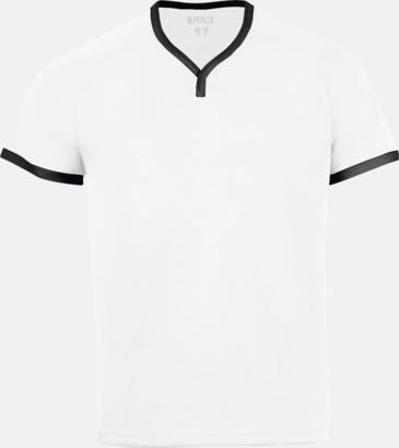 Vit/Svart Kortärmade sporttröjor i vuxen- och barnstorlekar med reklamtryck