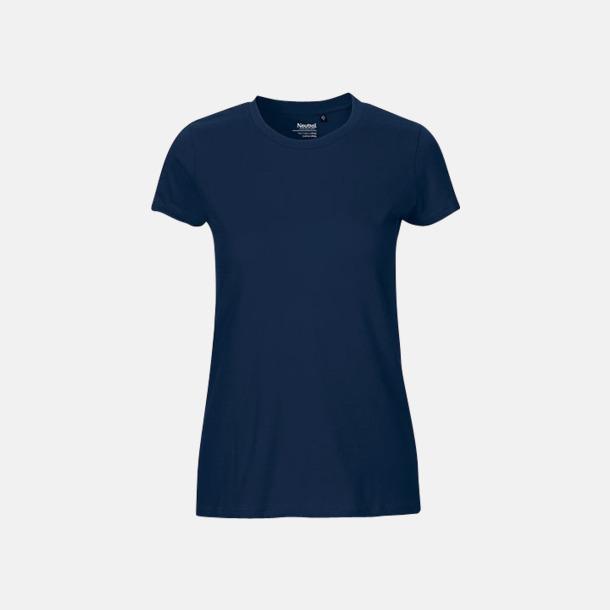 Marinblå (dam) Fitted t-shirts i ekologisk fairtrade-bomull med tryck