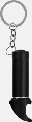Svart Nyckelring, ficklampa och flasköppnare med reklamtryck
