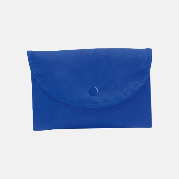 Blå (axelkasse) Vikbara non woven-påsar med knäppning - med reklamtryck