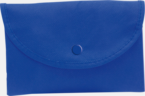 Blå Vikbara non woven-påsar med knäppning - med reklamtryck