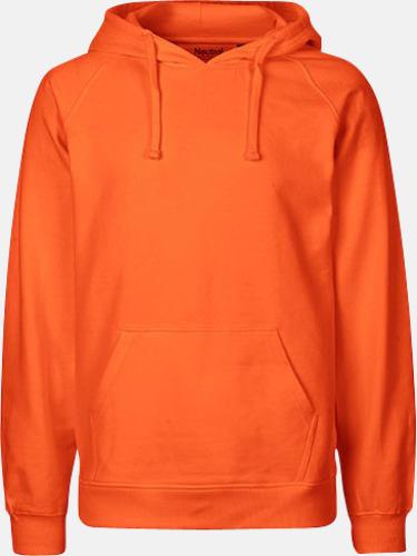 Orange (herr) Ekologiska huvtröjor för herr och dam med tryck