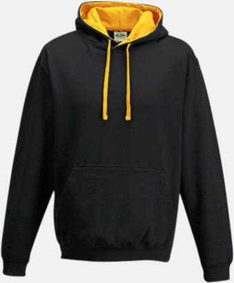 Jet Black/Gold Huvtröjor med insida av luva och dragsko i kontrasterande färg - med reklamtryck