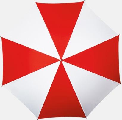 Röd / Vit Randigt paraply med ergonomiskt trähandtag