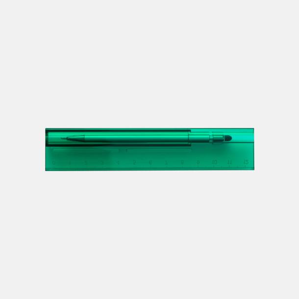 Baksida (grön) Linjal med styluspenna i hållare - med reklamtryck