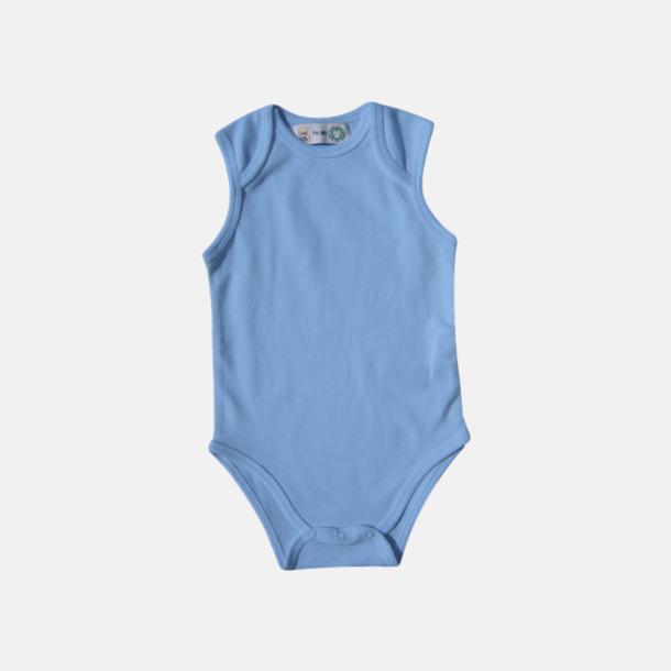 Babyblue Ekologiska bodyvästar för bebisar med reklamtryck