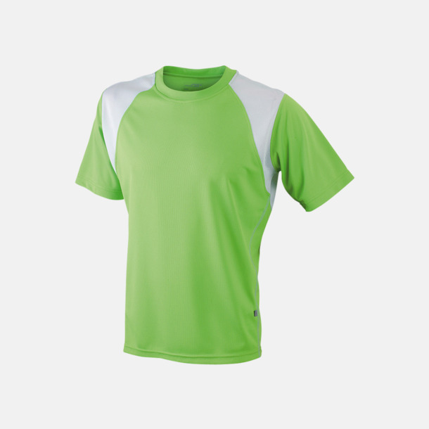 Limegrön / Vit Flerfärgade tränings t-shirts i herrmodell med reklamtryck